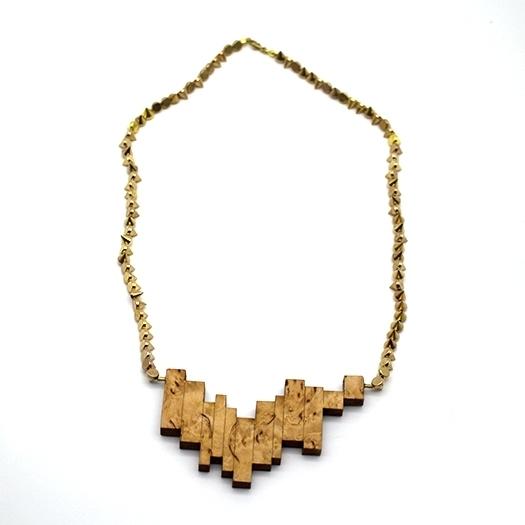 Kette Borke Holz birke Nieten Glasperlen Kette gold Helium 004_2