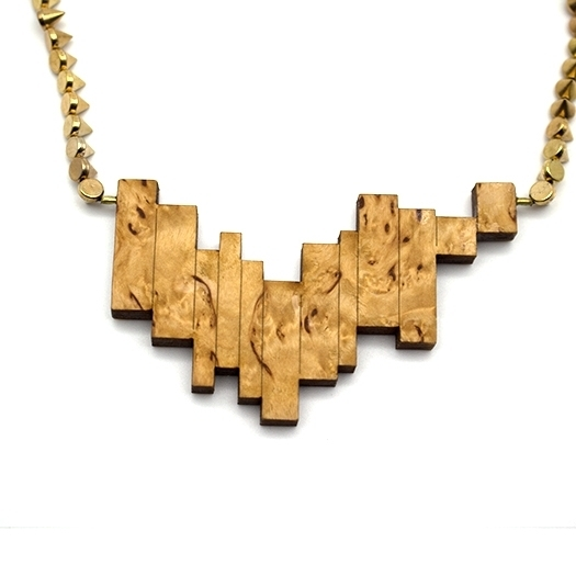 Kette Borke Holz birke Nieten Glasperlen Kette gold Helium 004_1