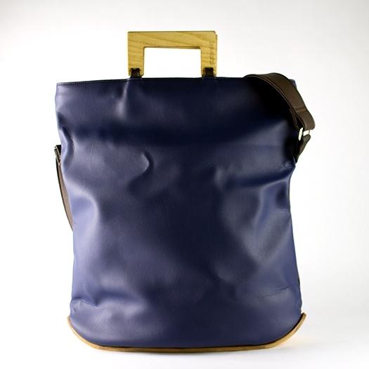 Tasche groß L dunkelblau braun schoko mit Holz Esche Holzboden Holzgriffen Recycling Unikat Hydrogen 0003_2