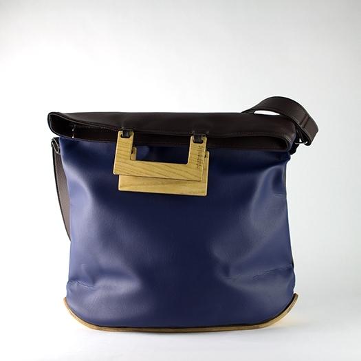 Tasche groß L dunkelblau braun schoko mit Holz Esche Holzboden Holzgriffen Recycling Unikat Hydrogen 0003_1