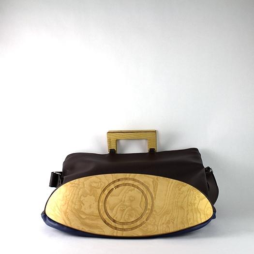 Tasche groß L dunkelblau braun schoko mit Holz Esche Holzboden Holzgriffen Recycling Unikat Hydrogen 0003_5 Boden