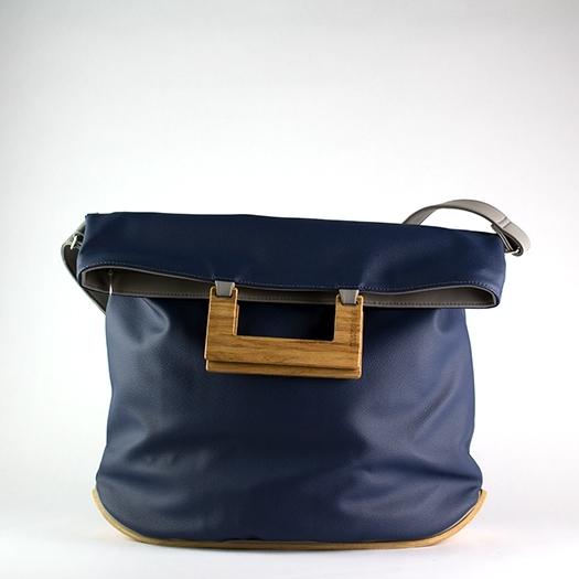 Tasche groß L dunkelblau hellgrau mit Holz Amerikanische Roteiche Holzboden Holzgriffen Recycling Unikat Hydrogen 0025_1