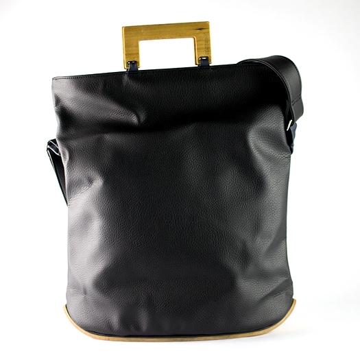 Tasche groß L schwarz mit Holz Tulpenholz Holzboden Holzgriffen Unikat Hydrogen 0027_2