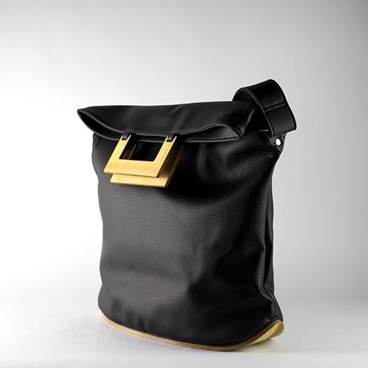 Tasche groß L schwarz mit Holz Tulpenholz Holzboden Holzgriffen Unikat Hydrogen 0027_3 Seite