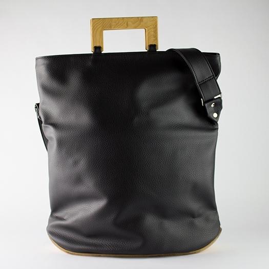 Tasche groß L schwarz mit Holz Esche Holzboden Holzgriffen Unikat Hydrogen 0029_2