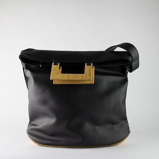 Tasche groß L schwarz mit Holz Esche Holzboden Holzgriffen Unikat Hydrogen 0029_1