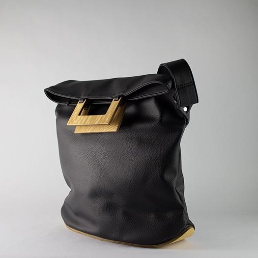 Tasche groß L schwarz mit Holz Esche Holzboden Holzgriffen Unikat Hydrogen 0029_3 Seite