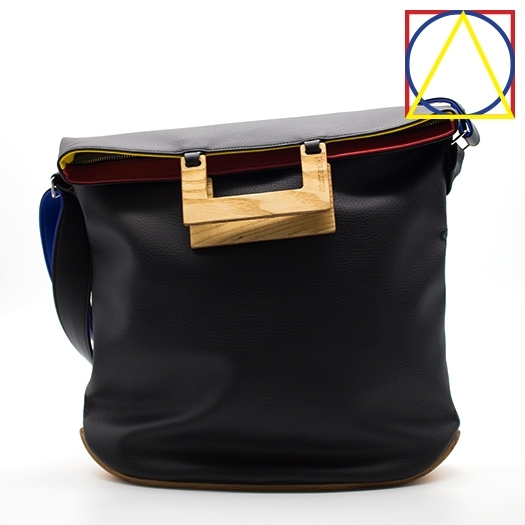 Tasche groß L schwarz/blau/rot/gelb Bauhaus Edition mit Holz Esche Holzboden Holzgriffen Unikat Hydrogen 0034_1