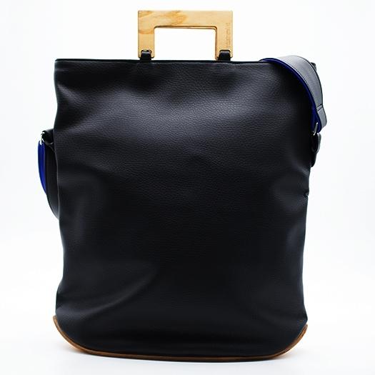 Tasche groß L schwarz/blau/rot/gelb Bauhaus Edition mit Holz Esche Holzboden Holzgriffen Unikat Hydrogen 0034_2