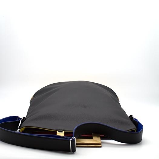 Tasche groß L schwarz/blau/rot/gelb Bauhaus Edition mit Holz Esche Holzboden Holzgriffen Unikat Hydrogen 0034_5 Griffe