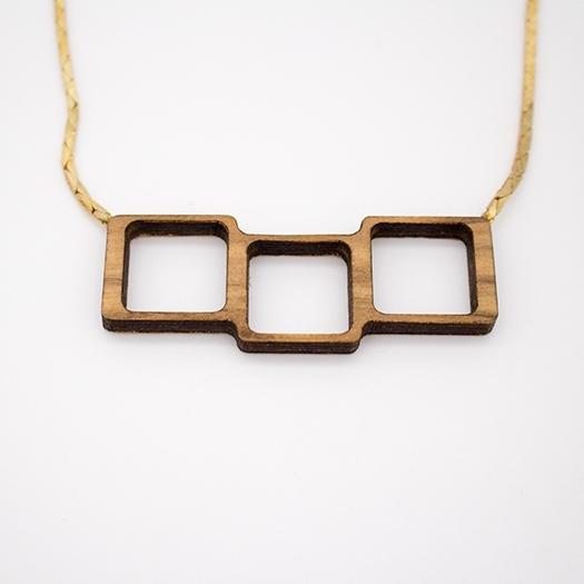 Kette Quadrat Holz RedGum Unikat Kobrakette Tombak/Messing (925 Silber Verschluss) Helium 002_1
