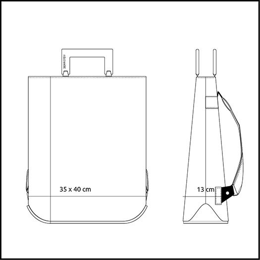Rucksack mittel X M Produktgroesse