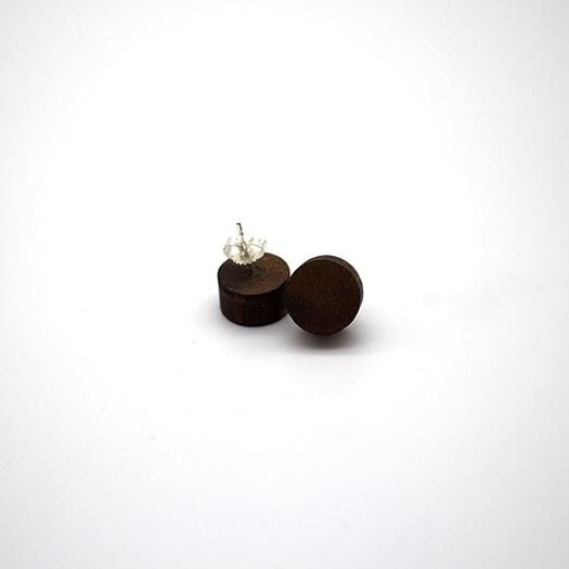 Ohrstecker Lithium Rund klein silber Nussbaum 002_1