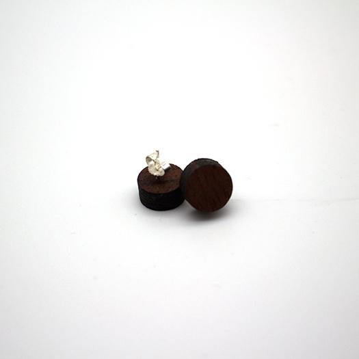 Ohrstecker Lithium Rund klein silber Mahagoni 003/009_1