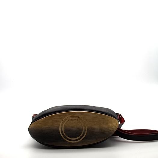 Tasche klein S schwarz/blau/rot/gelb Bauhaus Edition mit Holz Eiche Holzboden Holzgriffen Unikat Hydrogen 0099_4 Boden