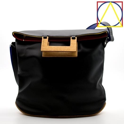 Tasche groß L schwarz/blau/rot/gelb Bauhaus Edition mit Holz Eiche Holzboden Holzgriffen Unikat Hydrogen 0035_1