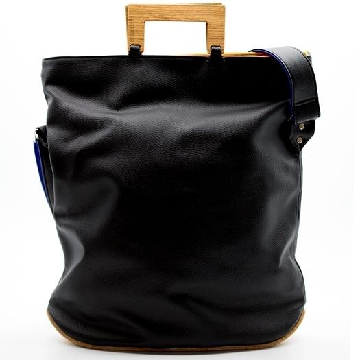 Tasche groß L schwarz/blau/rot/gelb Bauhaus Edition mit Holz Eiche Holzboden Holzgriffen Unikat Hydrogen 0035_2