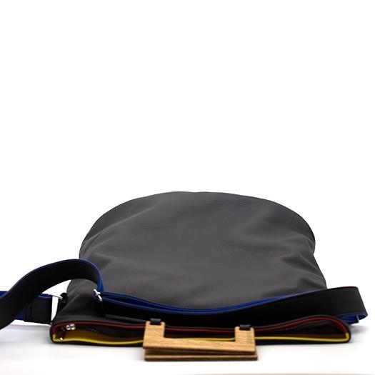 Tasche groß L schwarz/blau/rot/gelb Bauhaus Edition mit Holz Eiche Holzboden Holzgriffen Unikat Hydrogen 0035_5 Griffe
