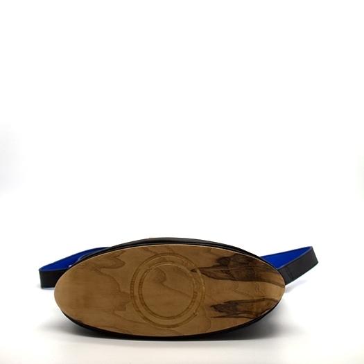 Tasche mittel M schwarz/blau/rot/gelb Bauhaus Edition mit Holz Esche Holzboden Holzgriffen Unikat Hydrogen 0074_4 Boden