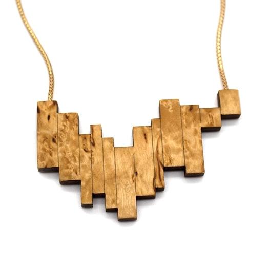 Kette Borke Holz Birke Fuchsschwanz Kette Tombak/Messing gold (925 Silber Verschluss)