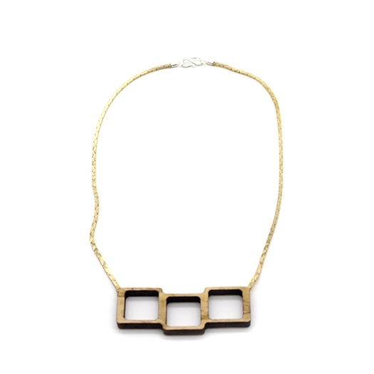 Kette Quadrat Holz Esche Unikat Kobrakette Tombak/Messing (925 Silber Verschluss) Helium 004_1