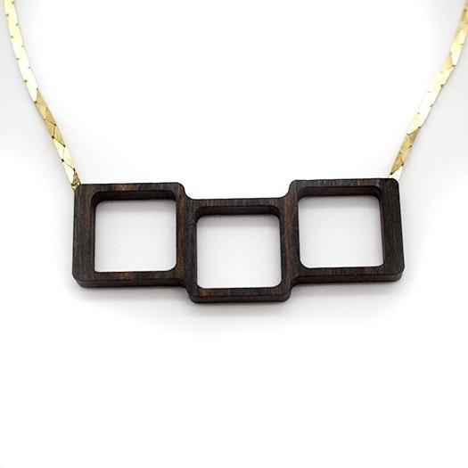 Kette Quadrat Holz Makassar Unikat Kobrakette Tombak/Messing (925 Silber Verschluss) Helium 006_1