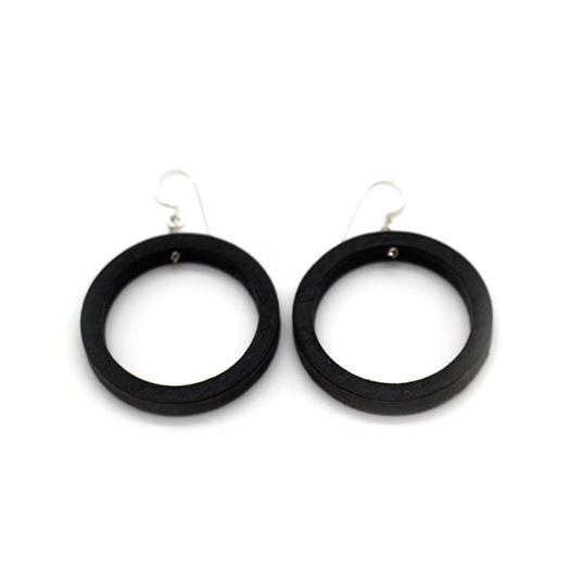 Ohrhaenger Lithium Kreis silber Tulpenholz schwarz 006_2