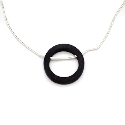 Kette Kreis Holz Tulpenholz schwarz 925 Silber Fuchsschwanzkette Lithium 003_2