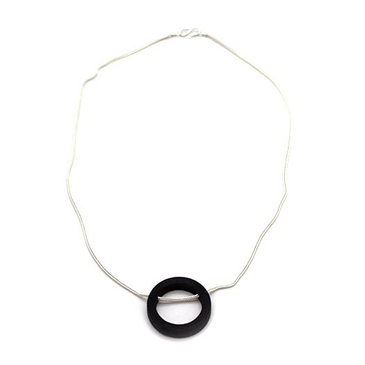 Kette Kreis Holz Tulpenholz schwarz 925 Silber Fuchsschwanzkette Lithium 003_1