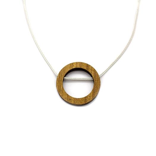 Kette Kreis Holz Afromosia 925 Silber Fuchsschwanzkette Lithium 004_1