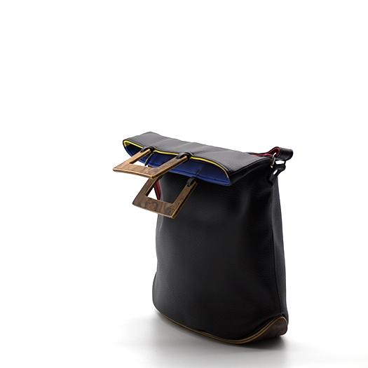 Tasche klein S schwarz/blau/rot/gelb Bauhaus Edition mit Holz Nussbaum Wurzelholz Holzboden Holzgriffen Unikat Hydrogen 0100_3 Seite