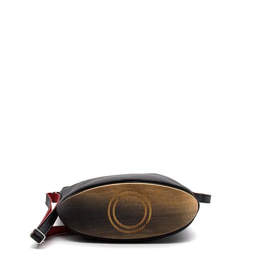 Tasche klein S schwarz/blau/rot/gelb Bauhaus Edition mit Holz Eiche Holzboden Holzgriffen Unikat Hydrogen 0110_4 Boden
