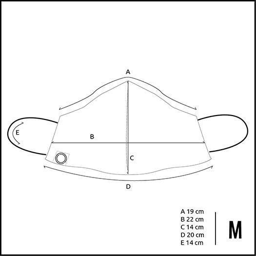 M Mund- und Nasenmaske Masse Produktgroesse