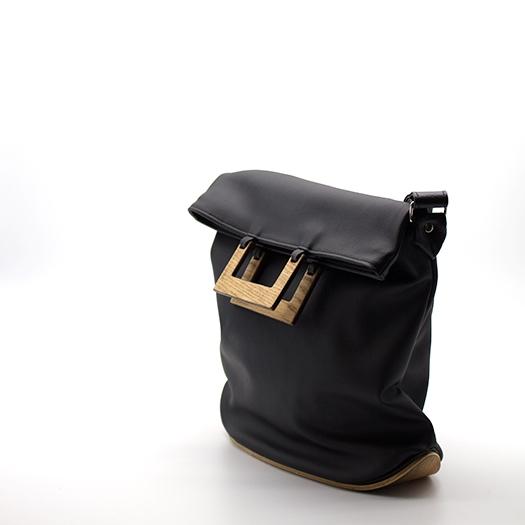 Tasche mittel M schwarz mit Holz Eiche Holzboden Holzgriffen Recycling Unikat Hydrogen 0011a_3 Seite