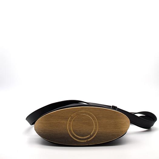 Tasche mittel M schwarz mit Holz Eiche Holzboden Holzgriffen Recycling Unikat Hydrogen 0011a_4 Boden