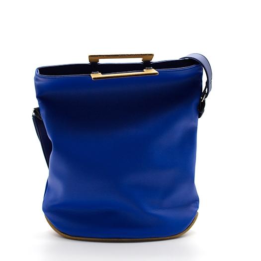 Tasche mittel M blau blaubeere schwarz mit Holz Afromosia Holzboden Holzgriffen Recycling Unikat Hydrogen 0052_2