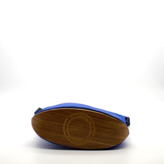 Tasche mittel M blau blaubeere schwarz mit Holz Afromosia Holzboden Holzgriffen Recycling Unikat Hydrogen 0052_4 Boden