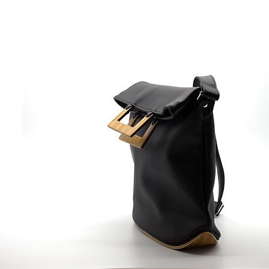 Tasche mittel M schwarz mit Holz Afromosia Holzboden Holzgriffen Recycling Unikat Hydrogen 0099_3 Seite