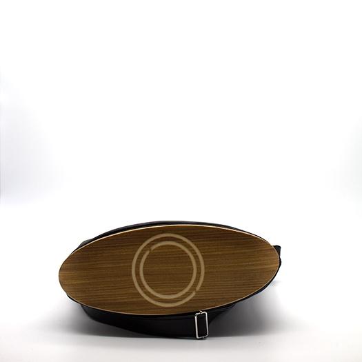 Tasche mittel M schwarz mit Holz Afromosia Holzboden Holzgriffen Recycling Unikat Hydrogen 0099_4 Boden