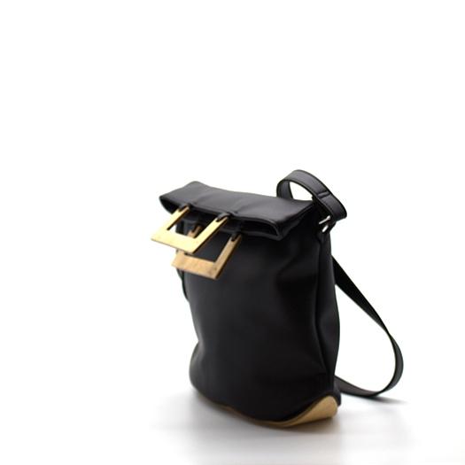 Tasche klein S schwarz mit Holz Vogelaugenahorn Holzboden Holzgriffen Recycling Unikat Hydrogen 0125_3 Seite
