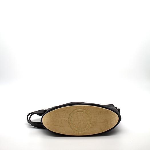 Tasche klein S schwarz mit Holz Vogelaugenahorn Holzboden Holzgriffen Recycling Unikat Hydrogen 0125_4 Boden