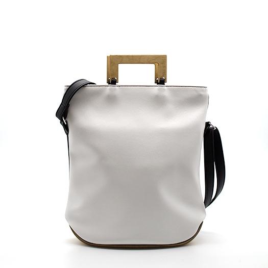 Tasche klein S schwarz weiß mit Holz Vogelaugenahorn Holzboden Holzgriffen Recycling Unikat Hydrogen 0126_3
