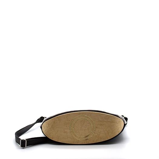 Tasche klein S schwarz weiß mit Holz Vogelaugenahorn Holzboden Holzgriffen Recycling Unikat Hydrogen 0126_5 Boden