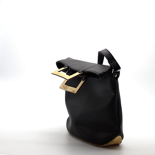 Tasche klein S schwarz mit Holz Pappel Holzboden Holzgriffen Recycling Unikat Hydrogen 0128_3 Seite