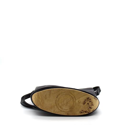 Tasche klein S schwarz mit Holz Pappel Holzboden Holzgriffen Recycling Unikat Hydrogen 0128_4 Boden