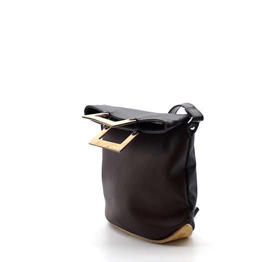 Tasche klein S schwarz schoko braun mit Holz Pappel Holzboden Holzgriffen Recycling Unikat Hydrogen 0133_4 Seite