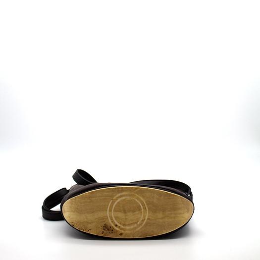 Tasche klein S schwarz schoko braun mit Holz Pappel Holzboden Holzgriffen Recycling Unikat Hydrogen 0133_5 Boden