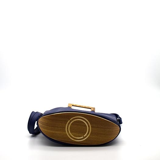 Tasche klein S mitternachtblau blau mit Holz Afromosia Holzboden Holzgriffen Recycling Unikat Hydrogen 0134_4 Boden