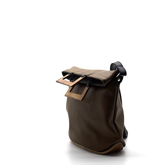 Tasche klein S mokka schwarz mit Holz Nussbaum Holzboden Holzgriffen Recycling Unikat Hydrogen 0137_3 Seite