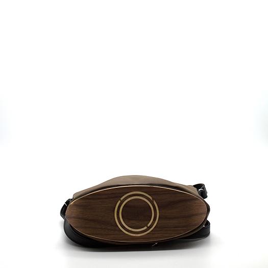 Tasche klein S mokka schwarz mit Holz Nussbaum Holzboden Holzgriffen Recycling Unikat Hydrogen 0137_4 Boden